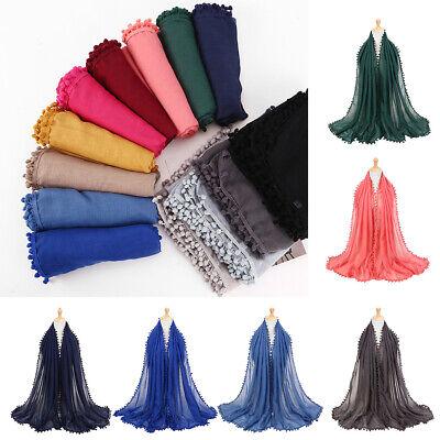 AM/_ Islamic Muslim Women/'s Hijab Scarf Solid Arab Neck Cover Wrap Headwear Hot S