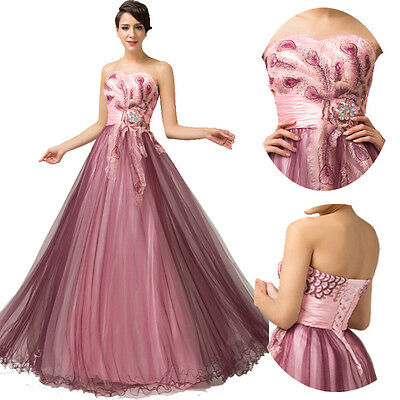 2015 Women Peacock Long Masquerade Evening Ball Prom Gown Party Bridesmaid Dress