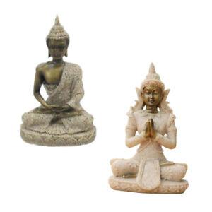 2pcs Decorazione Buddha Figura Statua Scultura Asia Giardino Thailand Feng Shui nel