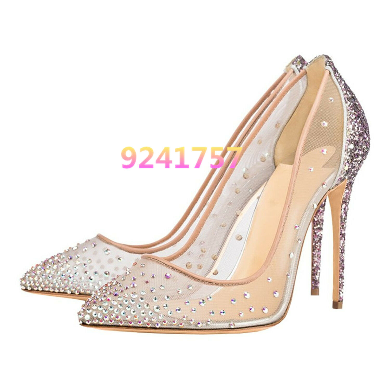 Bridal shoes Womens shoes Pumps High Heels Bling Bling Wedding Glitter Size 34-45