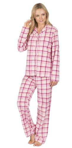 Ladies womens Fleece Warm Button Frontor  V neck  pyjamas Bottom Pyjama set Pjs