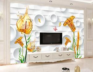 3D gold Flowers 04 Wall Paper Wall Print Decal Wall AJ WALLPAPER CA