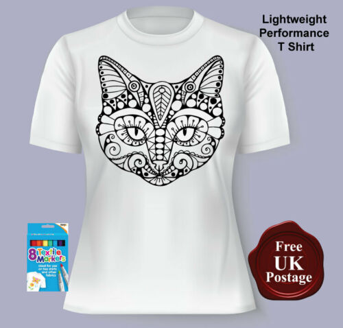 Colouring T Shirt, Day of the Dead Cat Ladies Women/'s