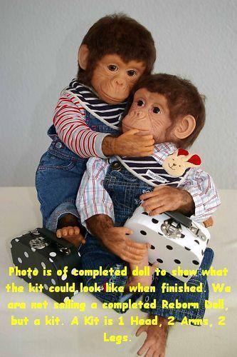 Reborn Puppe Set, Kongi Mongi Orang-Utan, Awake Offen Mund,Christa Rogotzki, Set