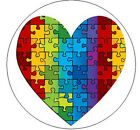 "PUZZLE HEART Autism Awareness - 1"" Round Stickers"
