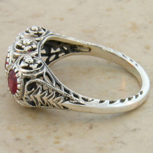 #158 GENUINE RUBY ANTIQUE DECO STYLE .925 SILVER FILIGREE RING SIZE 9