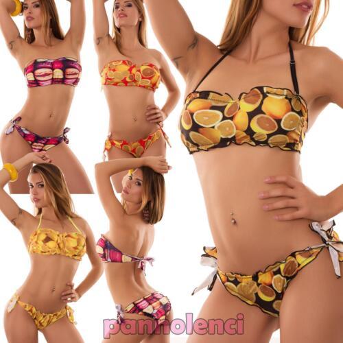 Bikini donna costume da bagno frutta fascia macarons due pezzi nuovo HS402