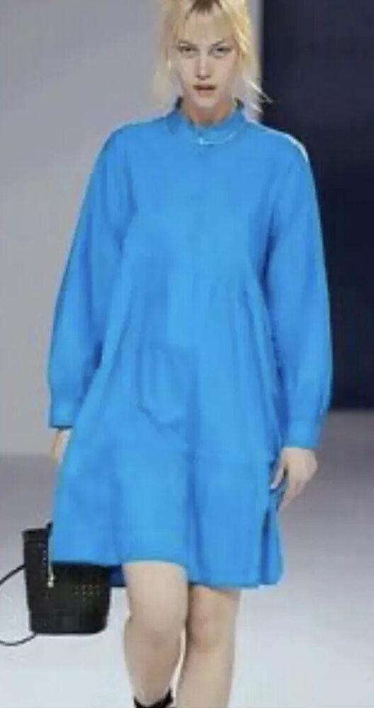 2020 Primark J'adore Popeline Bleu Blouse Shift Midi Dress Sz 10 Eu38 Nouvelle Tendance