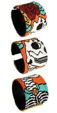 BR600 Artisan Glass Bead Day of the Dead Wide Bracelet Skull Cuff Katrina Zombie