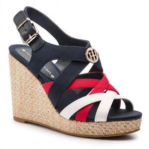 TOMMY-HILFIGER-ELENA-SANDAL-scarpe-sandali-donna-espadrillas-pelle-tessuto-zeppa
