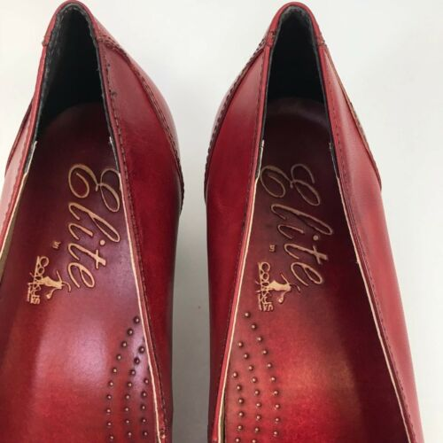Corkys Women/'s Camellia Elite Pumps Red SZ 9 New No Box Leather Bow Block Heel