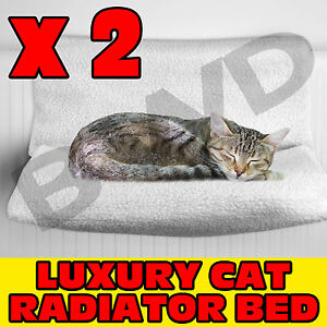 2 X PET CAT PUPPY KITTEN RADIATOR BED CRADLE HAMMOCK BASKET WARM COSY FLEECE DOG