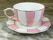 Cynthia Rowley New York Cup And Saucer. Pink Stripes, Gold Trim. Beautiful. New.