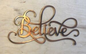 Believe Sign Rustic Copper Patina Metal Wall Art Ebay