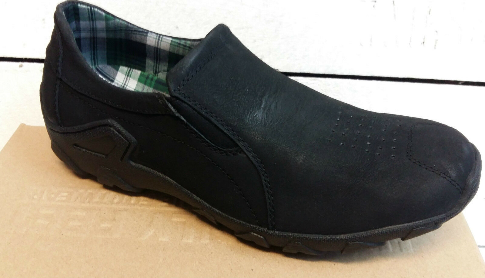 Mens Heavenly Feet Grant Black Nubuck Slip Ons