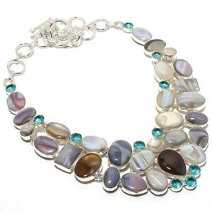 Botswana-Banded-Agate-Blue-Topaz-Gemstone-925-Sterling-Silver-Necklace-18-034