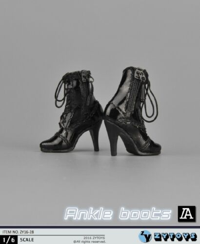 ZYTOYS 1:6 High-Heel Boots Shoes Black For 12 Female Action Figure Body ZY16-28