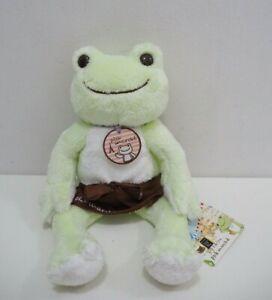 "Pickles the Frog Plush Doll Light Bright Yellow Beanie Toy Nakajima Japan 10/"""