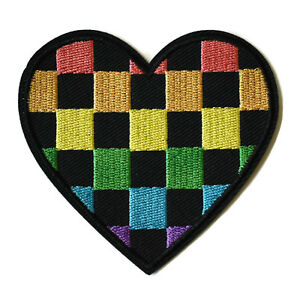 Gay-Pride-Rainbow-Check-Heart-Iron-On-Patch-Embroidered-Sew-On-LGBT