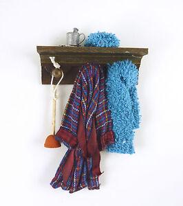 Dollhouse Miniature Artisan Man's Blue Robe Bathroom Shelf, #1