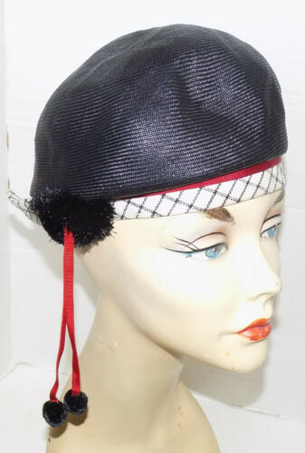 Vintage 60s Mr. John Red White Blue Straw Hat with