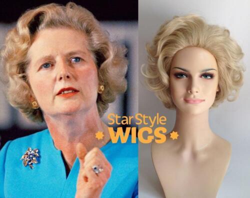 Deluxe Margaret Thatcher BLONDE vieille dame Granny Court Bouclés Costume Perruque