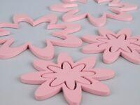Wandtattoo Aufkleber Wallsticker Kinderzimmer aus Holz 6 Blüten rosa