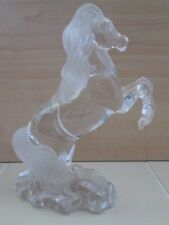 """Horse Stallion Clear & Frosted Glass Art Statue Figure 7.25"""" Rearing Up Base"""