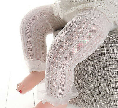 Girls Kids Baby White Bottoms Frilly lace under Dress Tights Stockings 6-12m
