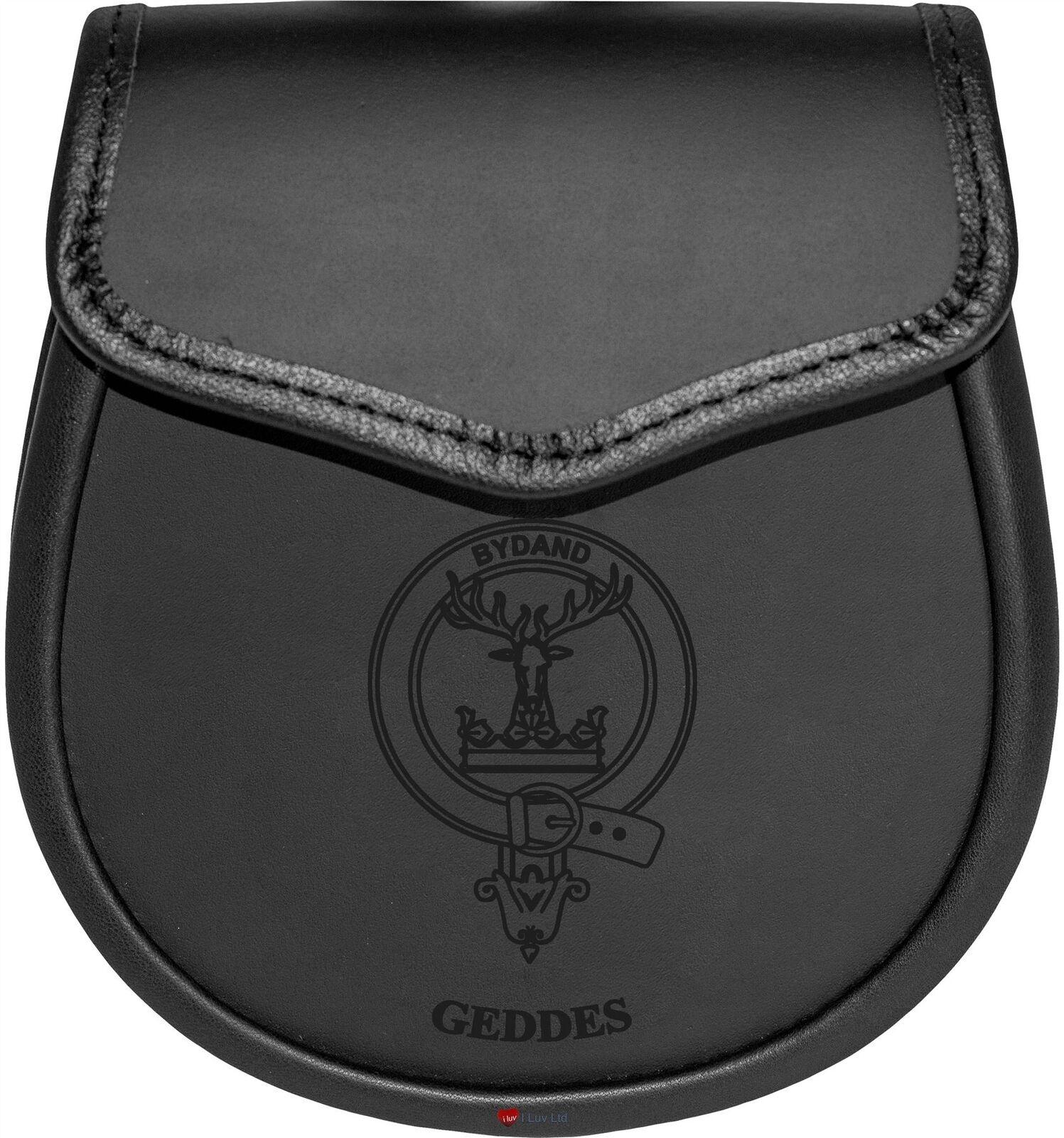 Geddes Leather Day Sporran Scottish Clan Crest
