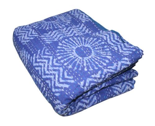 Handmade Indigo Kantha Quilt 100/%Cotton Indian Bedspread Throw Blanket King Bed