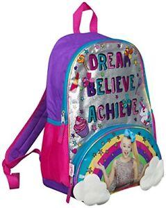 Jojo Siwa Bow Girls Rainbow Backpack Ruck Sack Sholder Bag Large Poket Print UK