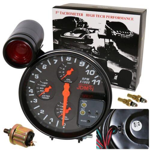 "Universal 5/"" 4 In1 11K Led Tachometer Oil+Water Temp+Oil Pressure Gauges Black"