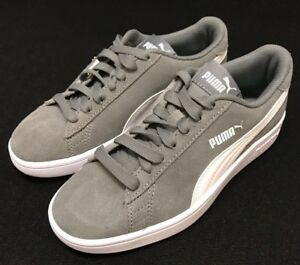 7aed1e8fe6 Details about Puma Smash V2 Size 4 C gray Suede Junior Kids Youth Shoes  365176 brand new!