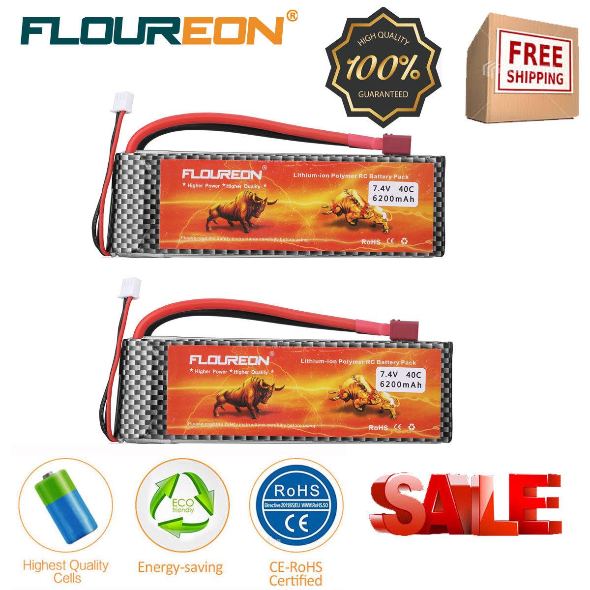 2x Floureon 2S2P 6200mAh 7.4V 40C mit T Plug LiPo Batterie akku for RC Drone DE  | Starker Wert
