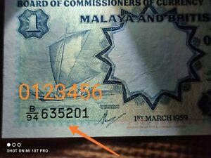 (0123456)MALAYA AND BRITISH BORNEO $1 1959 AU/GEF B94-635201