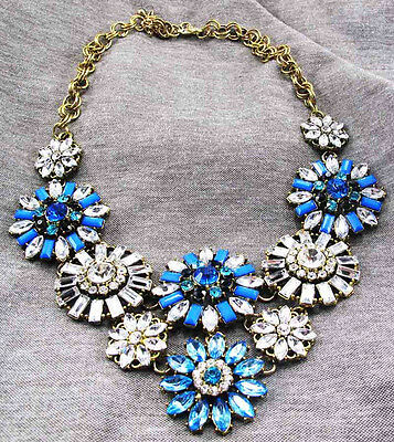 Fashion pentand Crystal Bib Statement charm chunky colorful collar Necklace 800