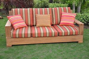 Leveb A-Grade Teak Wood Outdoor Garden Patio 3 seater Sofa Lounge ...