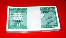 BURUNDI - Bundle Mazzetta 100 pcs x 10 francs 2007 FDS - UNC