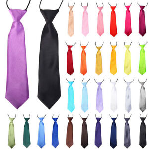 Wholesale Satin Elastic Neck Tie for Wedding Prom Boys Children School Kids Gift