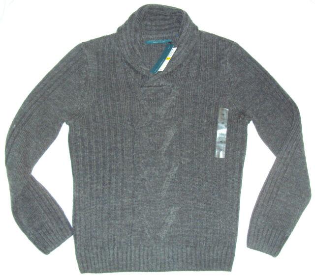 Perry Ellis Mens Shawl Collar Pullover Sweater M Medium Gray  96f8ce7cb