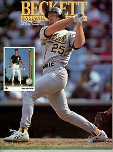 Beckett-Baseball-August-1992-Cover-Mark-McGwire-Back-Jack-McDowell