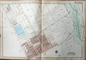 ORIGINAL 1923 G.W. BROMLEY, PHILADELPHIA PA, FERNROCK THEATRE, ATLAS PLAT MAP