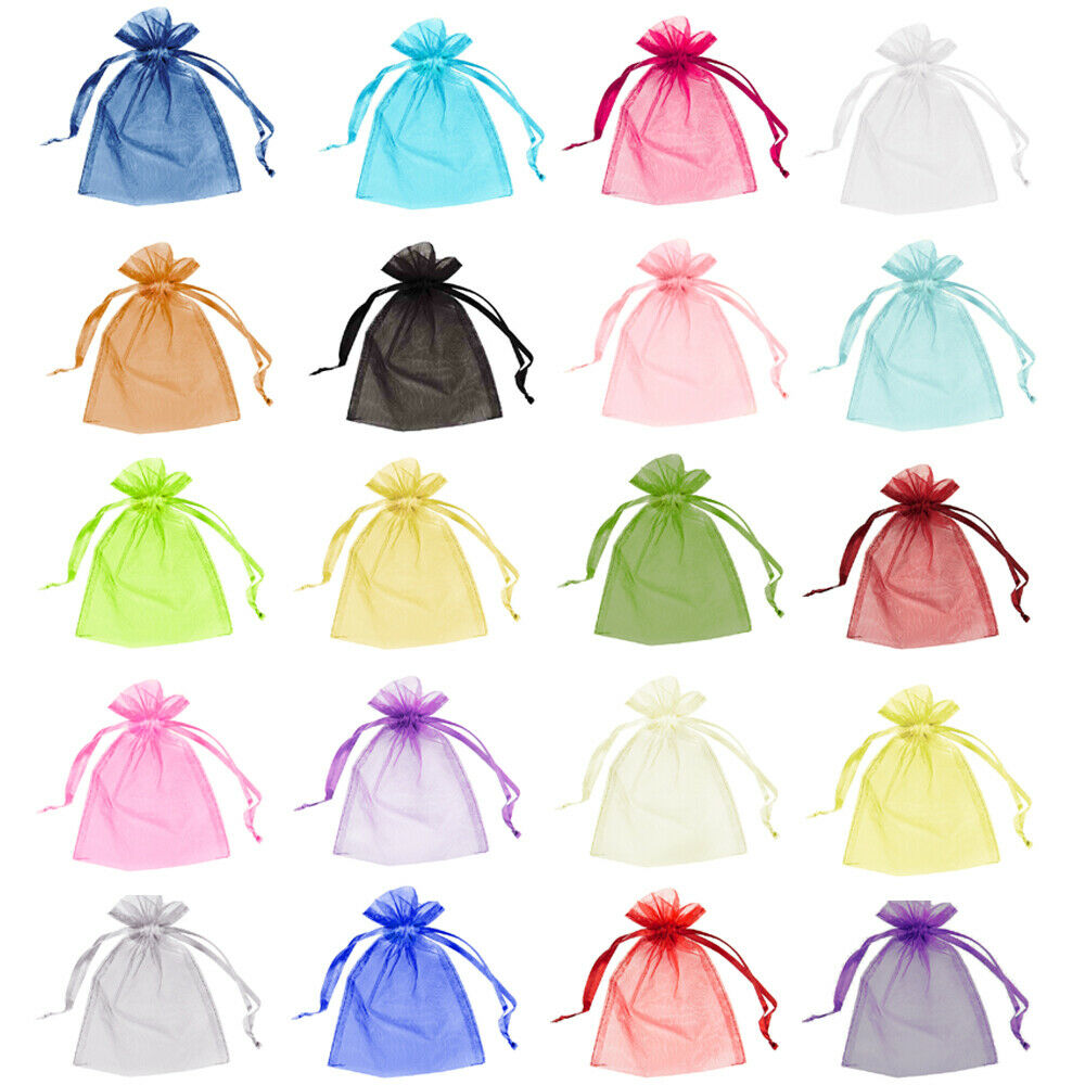 100 Organza Bags Wedding Favour Pouches Jewellery Mesh Party Drawstring Gift UK