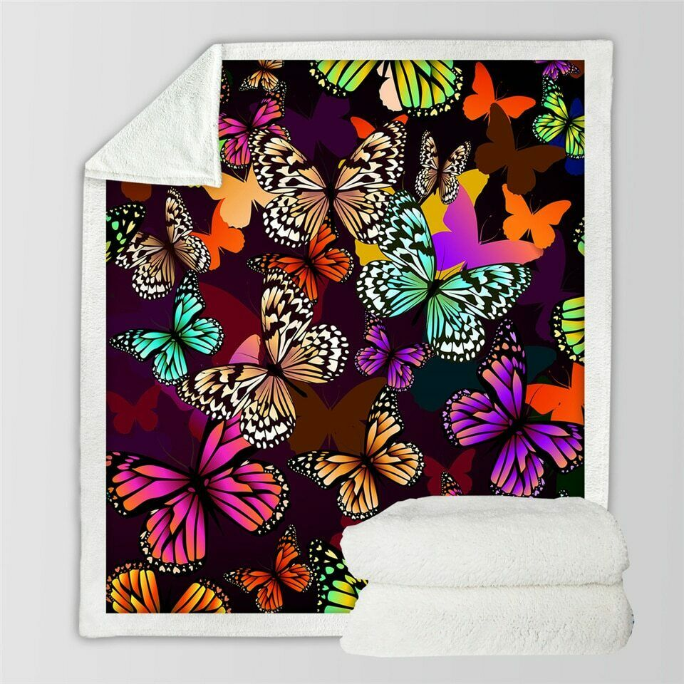 3D Butterfly Insect Summer Sherpa Plush Throw Blanket Fleece Bed Sofa Couch
