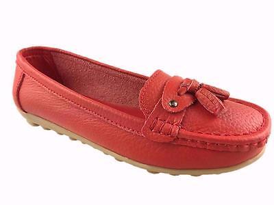 Señoras de cuero mocasín Slip On confort caminar calzado de verano Rojo Tamaño 3-8