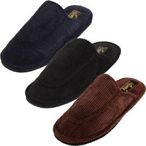 Mens Slippers Open Back House Shoe Corduroy Slip On Scuff Comfort Indoor Outdoor
