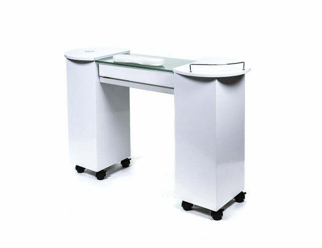 Glass Top Manicure Table Salon Nail Station | eBay