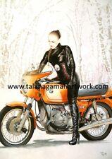 5 x BMW R90S Daytona Orange Motorbike Hans Muth Motorcycle Greetings Cards