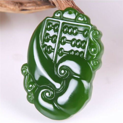 New hand-carved Green jadedragon Phoenix Pendant Necklace Amulet Bridal jewelry